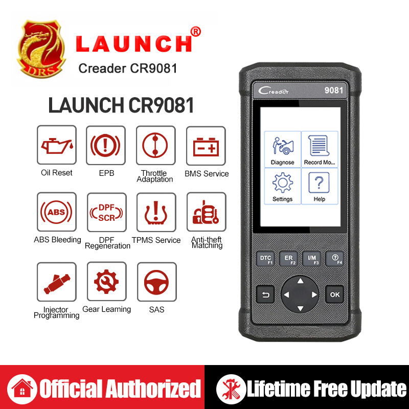 Launch CReader 9081 Full OBD2 Scanner Diagnostic Tool OBDII Auto Code Reader ABS SRS Oil EPB BMS SAS DPF Engine CR9081 Scan Tool