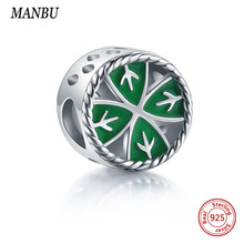 MANBU 925 Sterling Silver beads Four Leaf Clover enamel charms fit bracelet for women gift beads jewelry making sterling silver zoziri 100% 925 sterling silver 3 clover leaf bracelet luxury brand imitation jewelry for women girls zircon flower bracelet