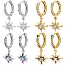 Корейские модные серьги-подвески для женщин, бижутерия, женские восьмиконечные звезды, цветные циркониевые Восьмиугольные серьги