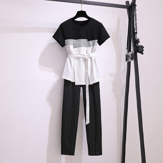M-6xl 2020 Summer Office Elegant Striped Two Piece Sets Women Plus Size Belted Tops + Ankle-length Pants Suits Workwear Sets