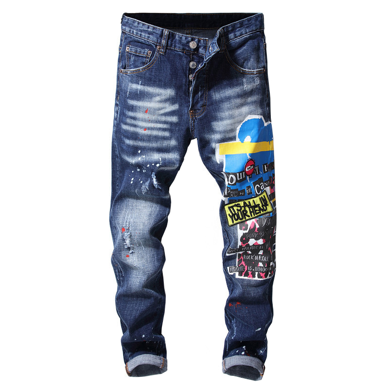 Sokotoo Men's Embroidery Patchwork Buttons Fly Jeans Slim Skinny Painted Holes Ripped Denim Pants