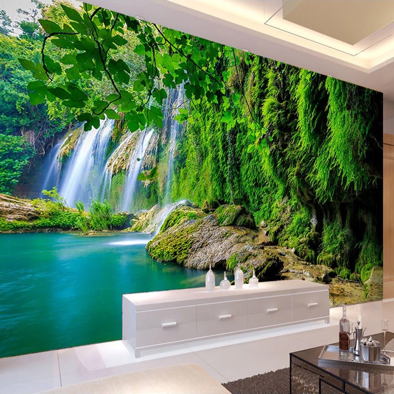 Custom 3D Mural Wallpaper Waterfall Green Landscape Waterproof Canvas Wall Painting Wallpaper For Living Room Bedroom Decoration