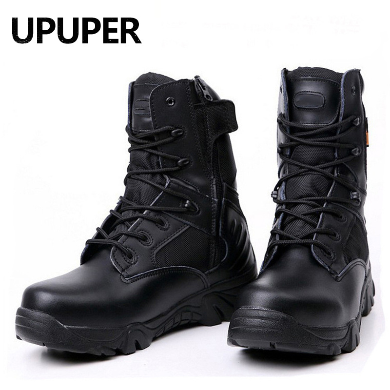 UPUPER Army Boots Men Tactical Military Boots Outdoor Special Force Leather Shoes Men Safety Combat Boots Plus Size 39-46