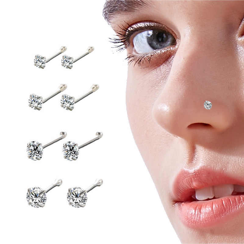 925 Sterling Silver Nose Stud For Woman Round Trend Zircon Nose