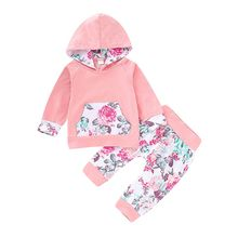 Newborn Baby Girl Clothes 2019 Spring Autumn Cotton Infant Floral  Hoodie Sweatshirt Tops +Pants 2pcs Outfit Tracksuit Set