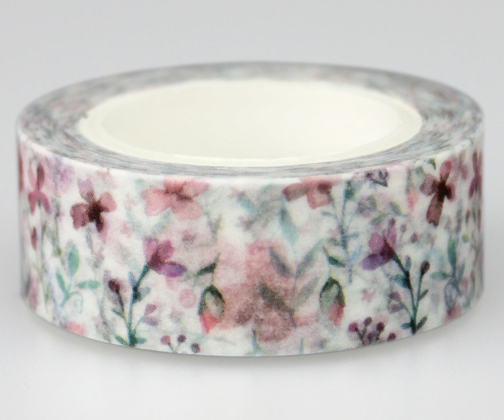 Purple Flower Adhesive Washi Tape(1piece)