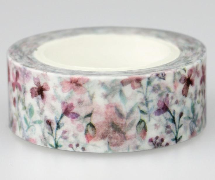 Purple Flower Adhesive Washi Tape(1piece)