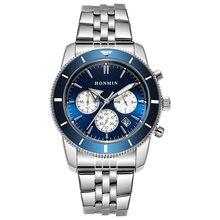 Мужские кварцевые часы с хронографом и секундомером 44 мм