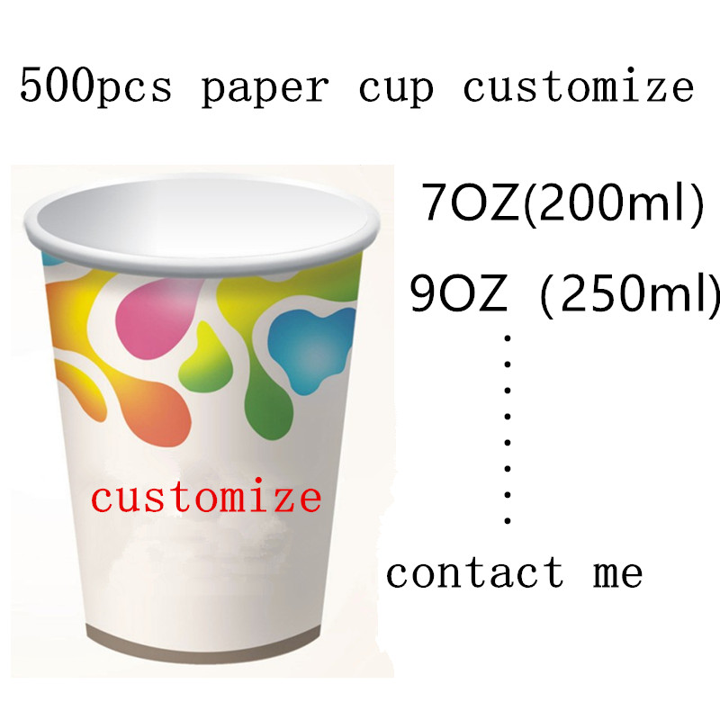 500pcs Disposable coffee cups 7oz/9oz water juice beverage packaging paper cup household commercial ad use logo OME customize
