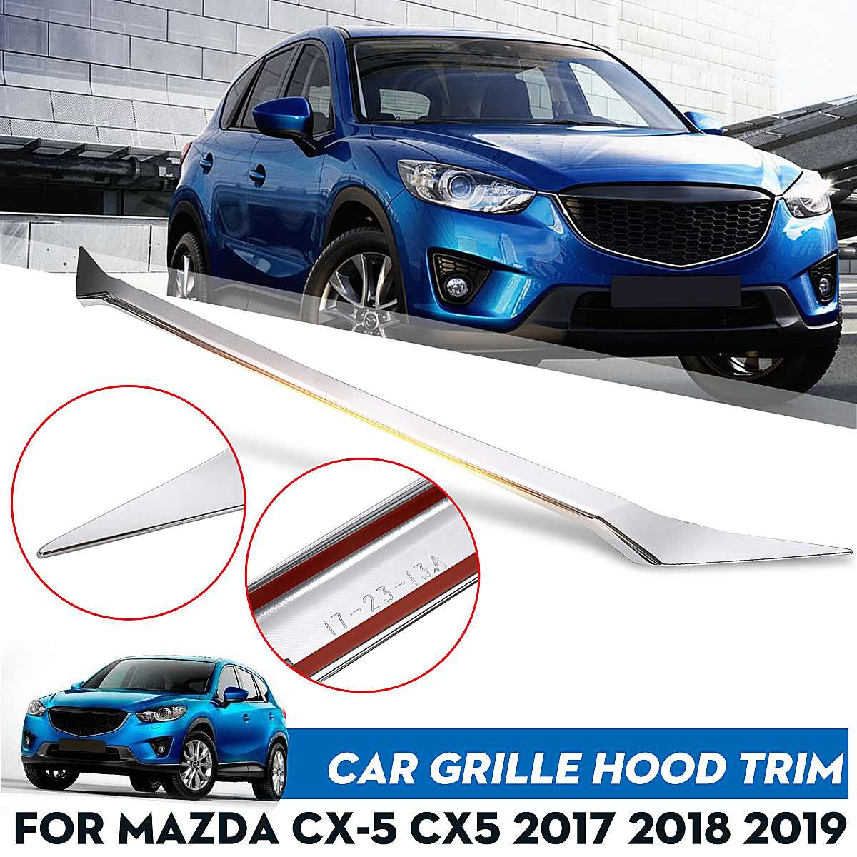 ABS Front Grille Grill Engine Hood Bonnet Cover Chrome Trim Sticker Decoration <font><b>Accessories</b></font> For <font><b>Mazda</b></font> CX-5 <font><b>CX5</b></font> 2017 2018 <font><b>2019</b></font> image