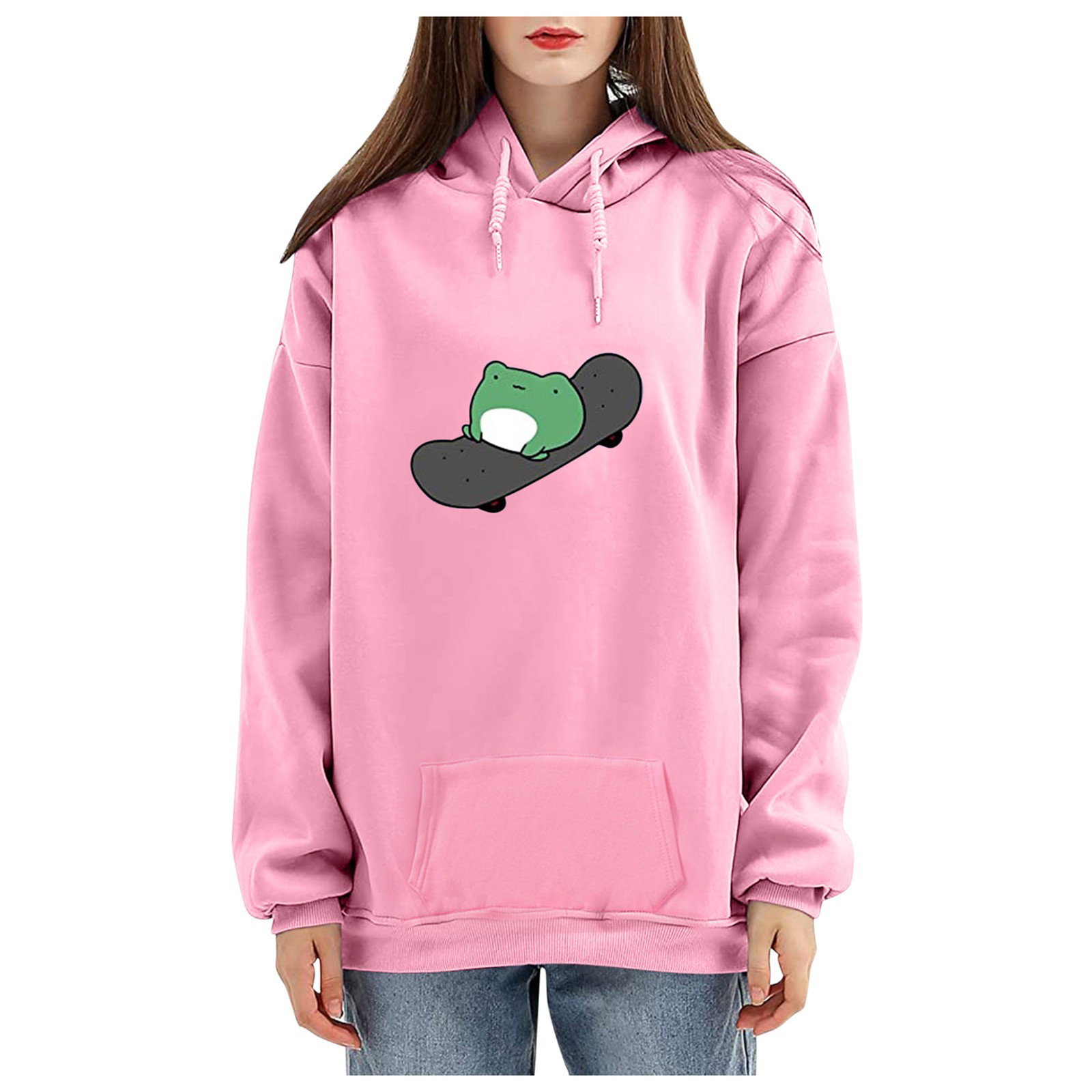 harajuku aesthetic bear anime hoodie women korean kawaii crewneck long sleeve oversized fall winter clothes kpop streetwear tops 16