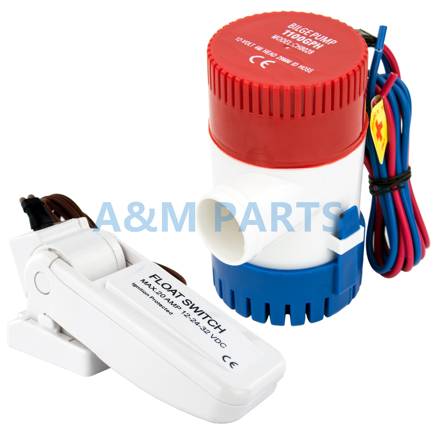 12V <font><b>1100</b></font> <font><b>GPH</b></font> Boat <font><b>Bilge</b></font> <font><b>Pump</b></font> Marine Submersible Water <font><b>Pump</b></font> With Float Switch image