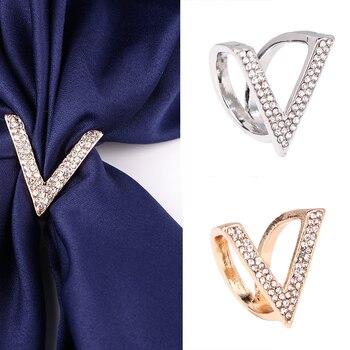 Модная Роскошная Пряжка для шарфа, свадебная брошь-обруч, булавки для женщин, Хрустальный держатель, шелковая шаль, пряжка, кольцо, зажим для шарфа, ювелирное изделие, подарок