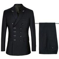 PAULKONTE Men Slim Fit Suit Double Breasted Black Blue Formal Wedding Tuxedos Party Mariage Classic Men's Suit 2PCS(Suits+Pants)