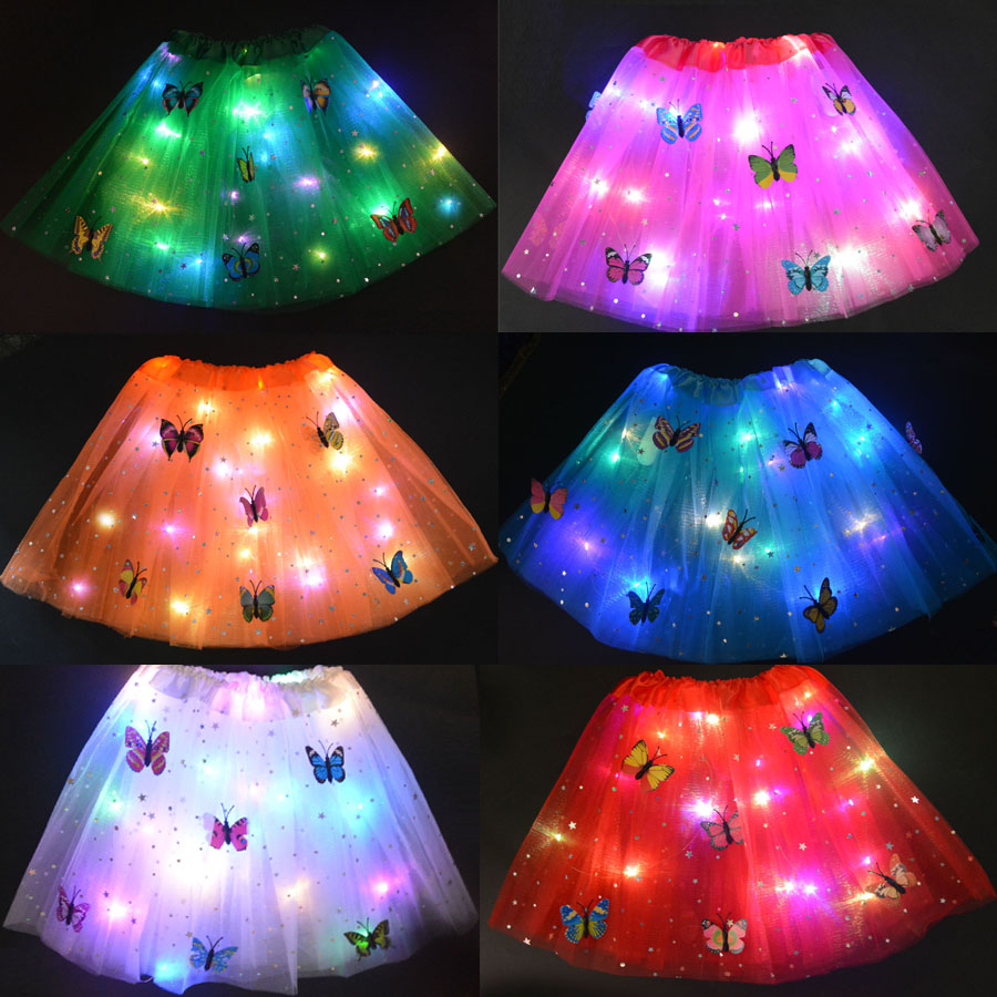 Women Girls LED Light Glow Star Butterfly Tutu Skirt Neon Luminous Party Ballet Dance Dress Festival Cosplay Costume Stage Wear