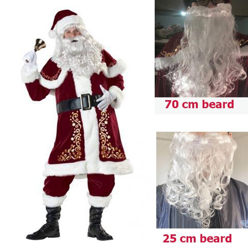 Adulte père noël vieil homme rouge vêtements de noël Costume de père noël Costume de luxe avec barbe blanche ensemble de costumes de père noël en peluche