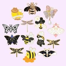 Owady seria emalia szpilki ważka motyl broszka pszczoła przypinka plecaki śliczne odznaka biżuteria prezent dla przyjaciół hurtowych