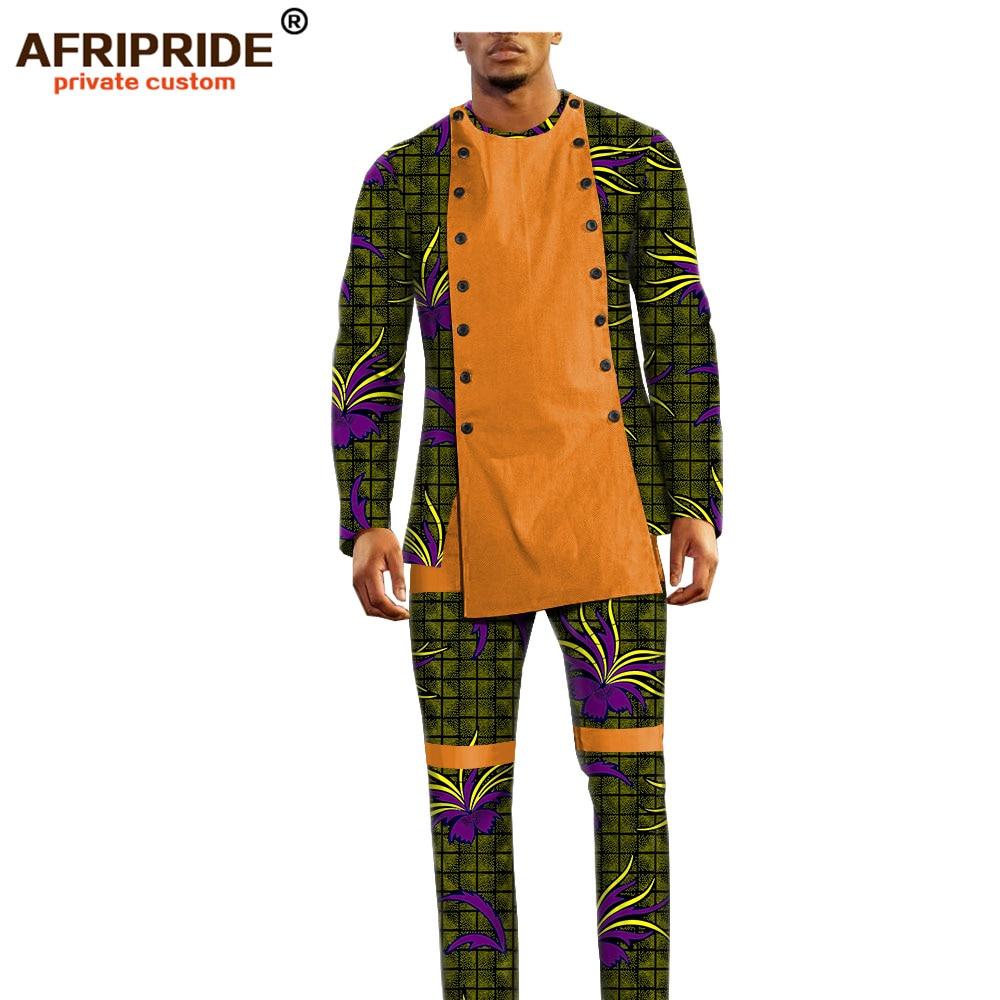 Image 2 - african ankara dashiki pants set for men AFRIPRIDE bazin richi  full sleeve top full length pants mens casual set A1816011Mens Sets