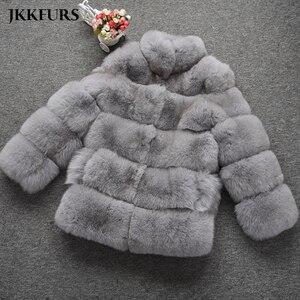 Image 4 - Abrigo de piel auténtica de zorro estilo de moda 2019 nuevas llegadas de alta calidad de invierno grueso cálido chaqueta de piel prendas de vestir exteriores S7362