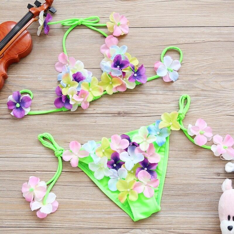 Sen Vine Odd KID'S Swimwear Cute Flower Bikini Tour Bathing Suit Girls GIRL'S Princess Baby Two-piece Swimsuits