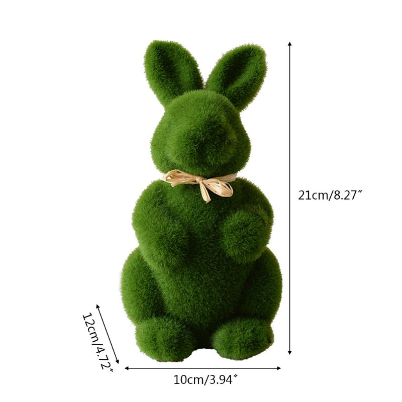 Lovely Handmade Moss Rabbit Artificial Turf Grass Easter Bunny Home Office Decor