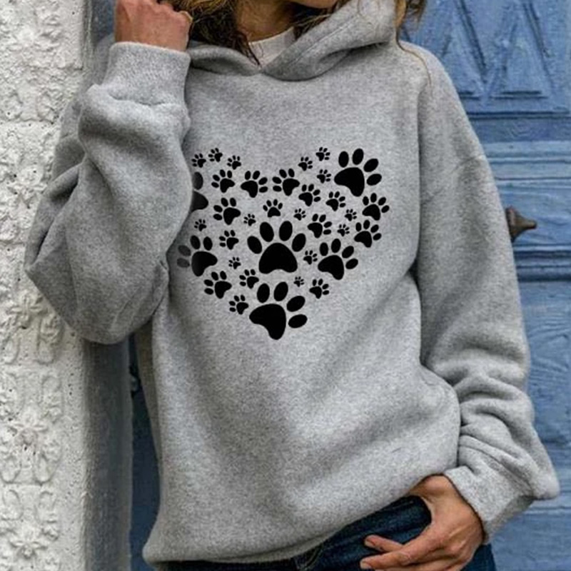 2020 Autumn Print Heart Paw Women's Hooded Sweatshirts