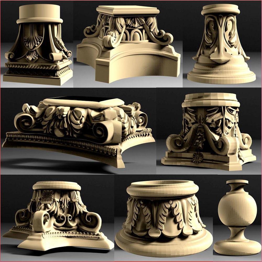 43 stücke baluster kopf 3D STL Modell für CNC 4 ACHSE Stecher Carvingbed Relief für CNC Router Aspire Artcam