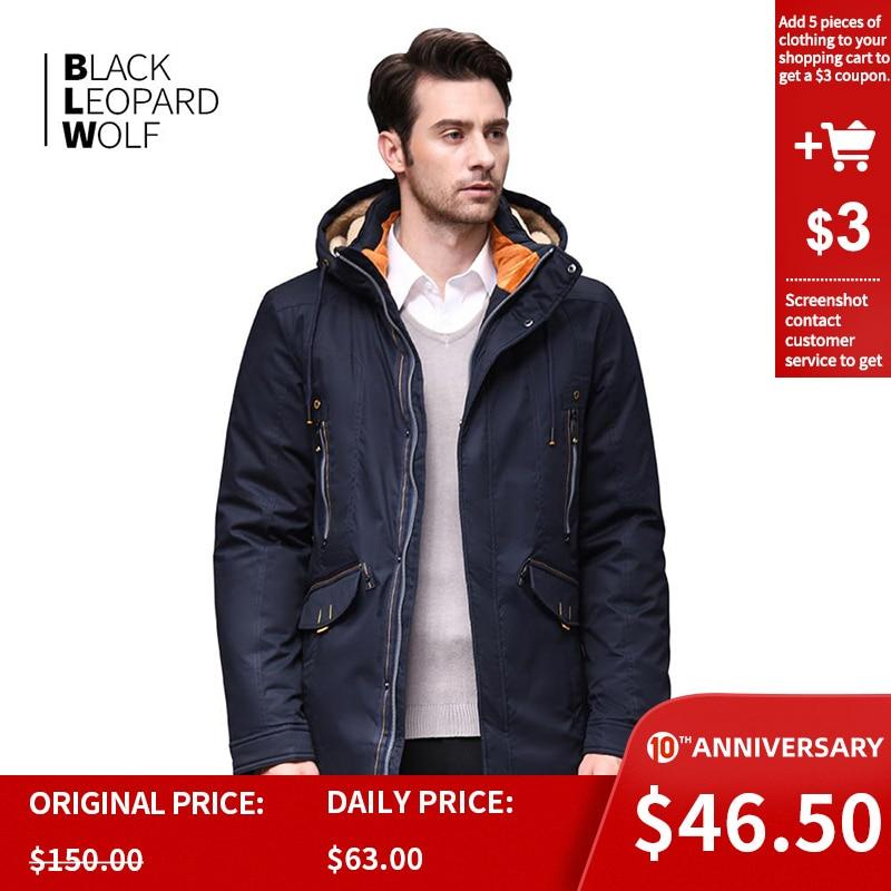 Blackleopardwolf 2019 New Arrival Winter Jacket Men With A Fur Collar Fashion Coat Thik Parka Outwear Short Long Comfort BL-761