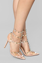 Liren 2019 Summer Fashion Sexy Lady Rivet Buckle Sandals High Heels Pointed Open Toe Decoration Party