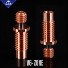 Mellow NF V6 Zone Heat Break Copper & Aerospace Materials 3D Printer Nozzle Throat For 1.75mm E3D V6 HOTEND Heater Block