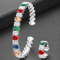 GODKI Luxury Bagutte Silver Bangle Ring Set Jewelry Sets For Women Wedding Saudi Arabia Engagement brincos para as mulheres 2020