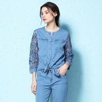 Spring Summer o neck shirt hollow out embroidery lace hook flower personality three quarter sleeve irregular denim shirt women