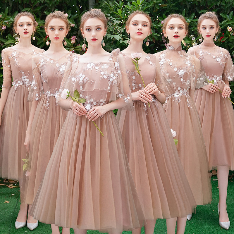 Bridesmaid Dresses Brown Embroidery A-Line Wedding Guest Dress V-Neck Half Sleeve Women Formal Gowns Tea-Length Vestidos R092