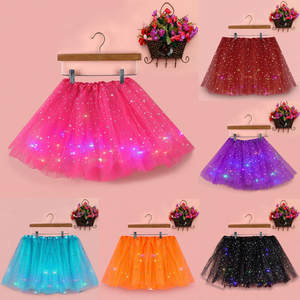 Tutu-Skirt Glitter-Clothes Sequin Tulle Girls Fluffy Princess Fashion Dancewear Magic-Light