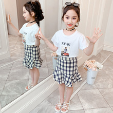 Summer Girls Outfits 2Pcs Kids Clothing Set Baby Girl Short-Sleeved T-shirt + Plaid Skirt 4 5 6 8 10 12 Years Children Clothes