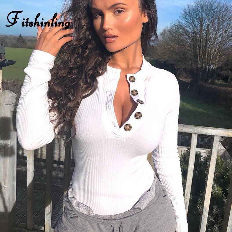 Fitshinling Buttons Up Jumpsuit Womems Romper Bodysuits Autumn Fashion Streetwear Long Sleeve Bodysuit Women Clothing New