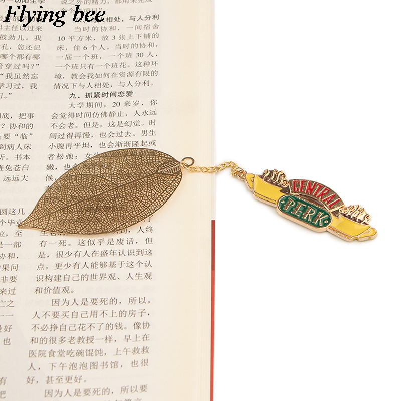 Flyingbee Leave Pendant Friendship Metal Bookmarks Cool Book Markers Page Holder For Books Stationery Gifts X0778