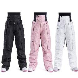Лыжные брюки для мужчин и женщин, для улицы, высокое качество, ветрозащитные, водонепроницаемые, теплые, пара, зимние брюки, зимние, лыжные, с...