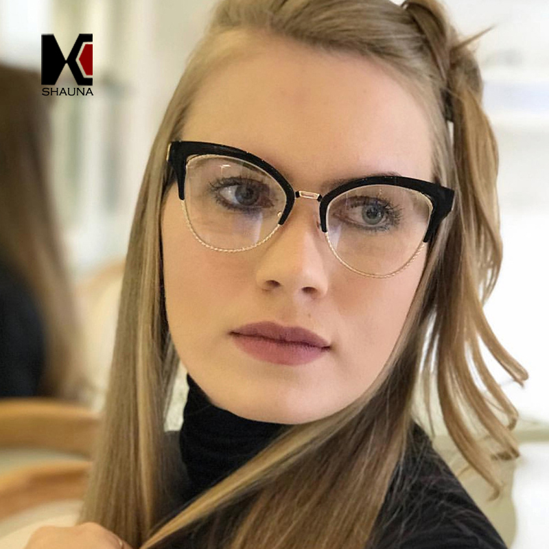 SHAUNA Fashion-Montura media para mujer, gafas de ojos de gato