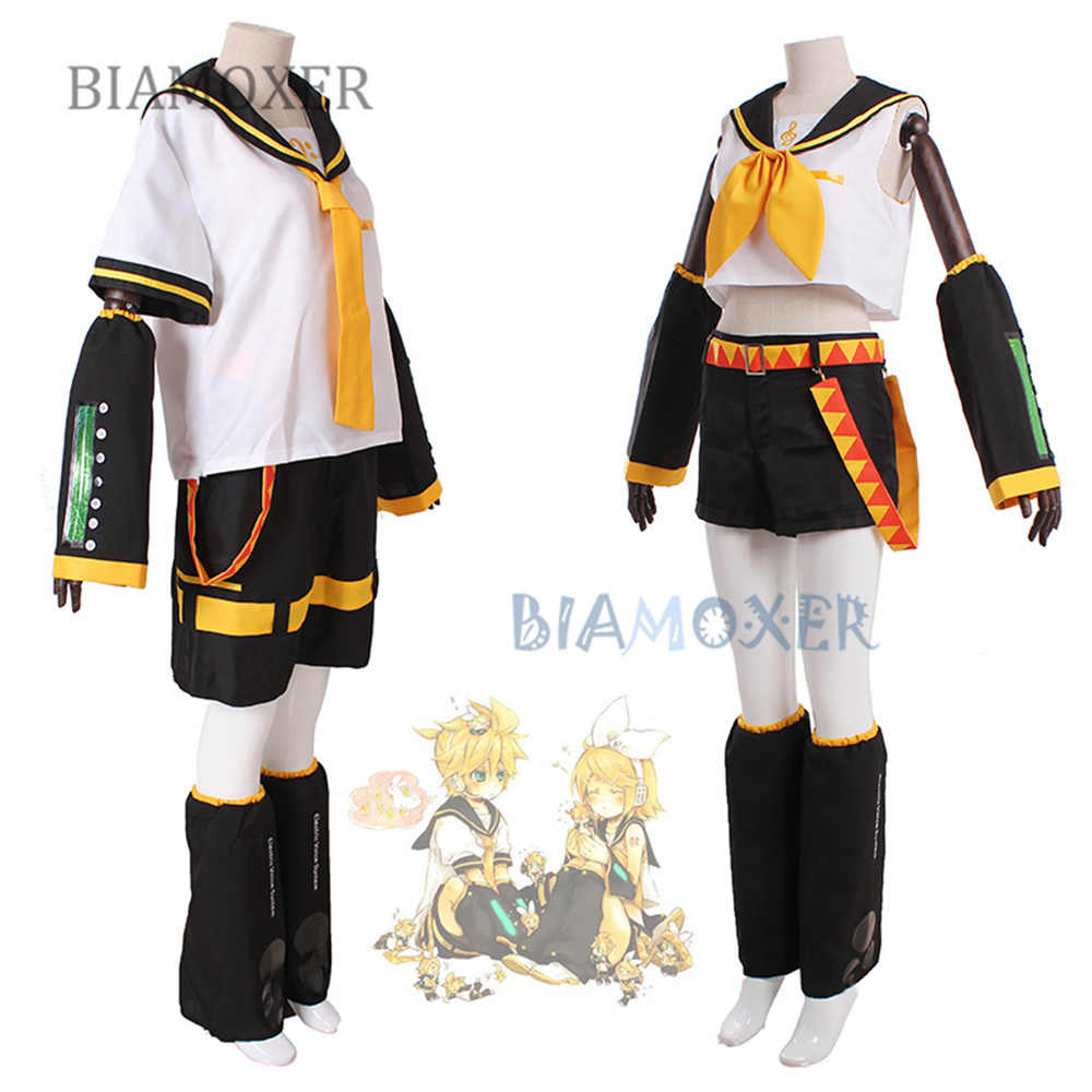 VOCALOID Kagamine Rin Kagamine Len Halloween uniforme Cosplay complet Costumes hauts + Shorts