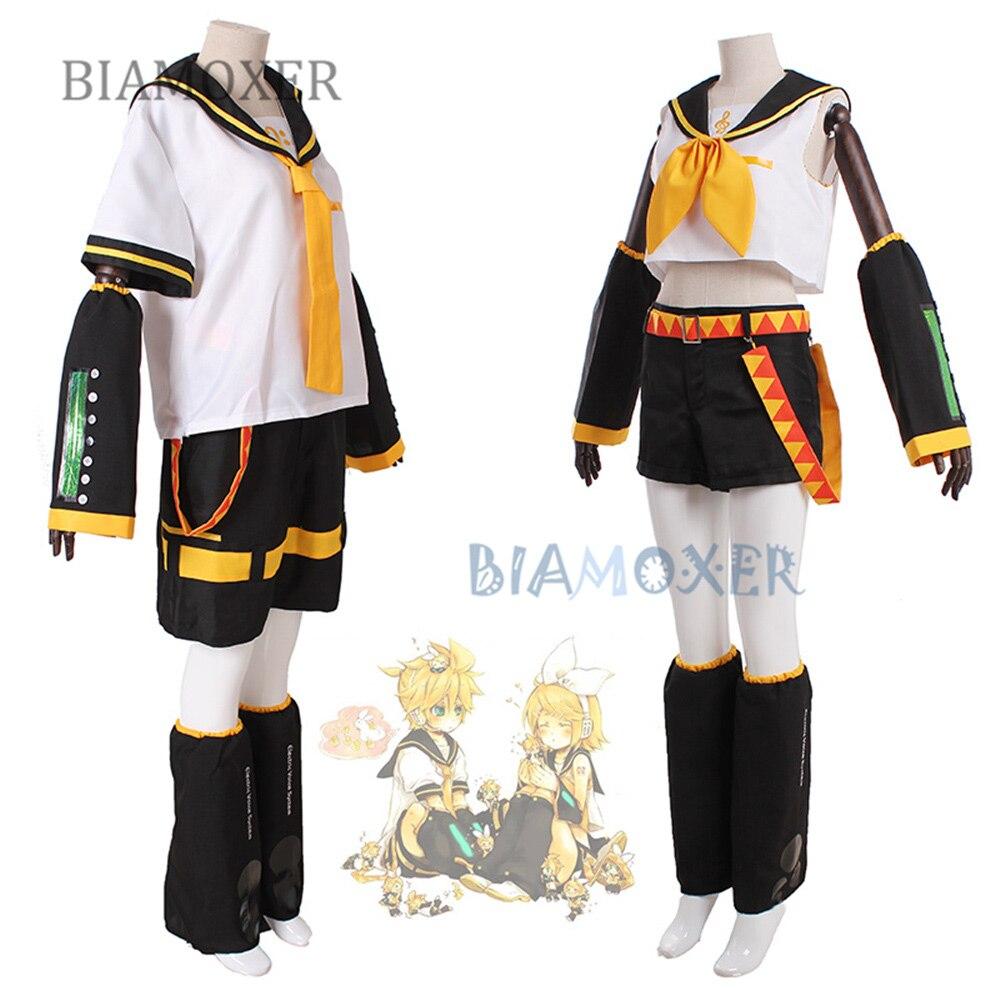 VOCALOID Kagamine Rin Kagamine Len Хэллоуин униформа косплей полный костюм топы + шорты
