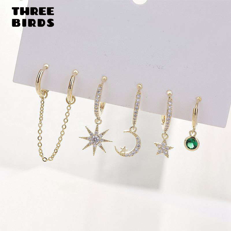 New Trendy Zirconia Star Moon Sets Drop Earrings Gold Small Hoop Earrings For Women Fashion Jewelry Gift 2019 Pendientes Aro