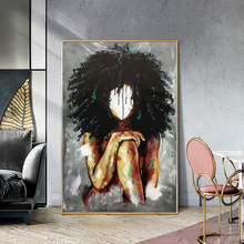 Abstract African Black Woman with Shaggy Hair Posters and Prints Canvas Paintings Wall Art Pictures for Living Room Decor