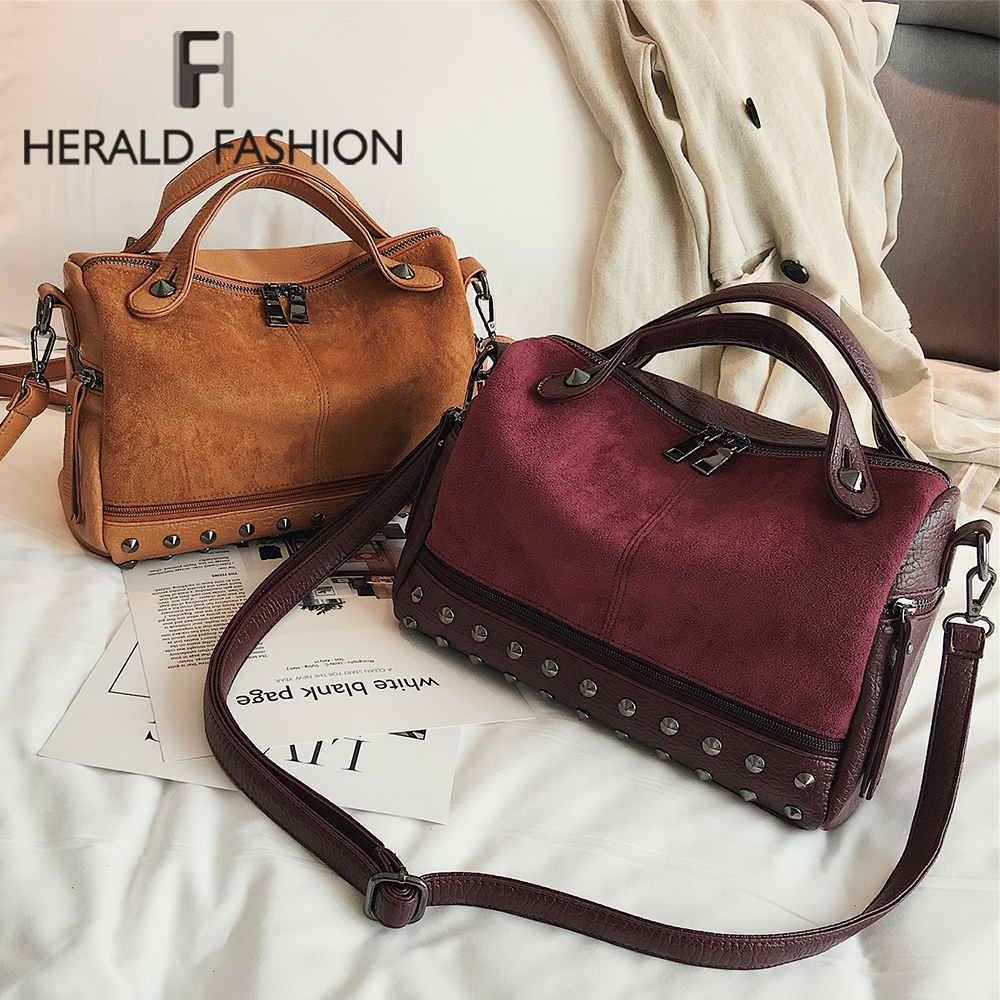 Herald Fashion Vintage Nubuck Leather Female Top-handle Bags Rivet Larger Women Shoulder Bags Ladies' Motorcycle Messenger Bag