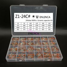 960Pcs/lot Ceramic capacitor Assortment Kit 2PF-0.1UF 50V Ceramic capacitors set 24value*40pcs diy Electronic capacitors 20%
