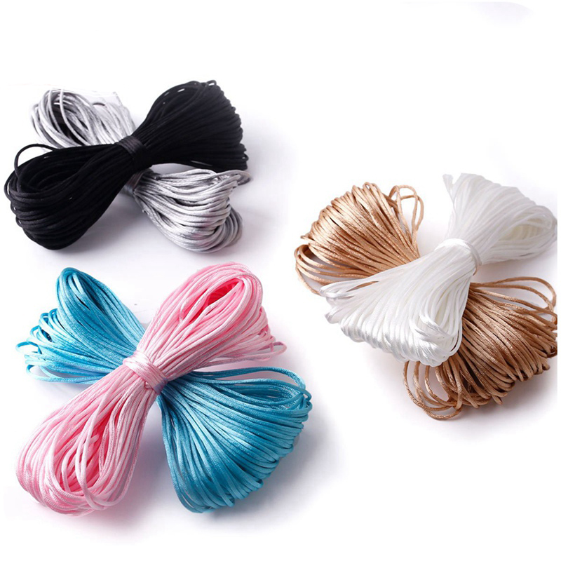 20M/Lot Colorful Satin Cords 1MM DIY String Nylon Rope Accessary&Findings Baby Silicone Teething Bead Necklace Baby Teether