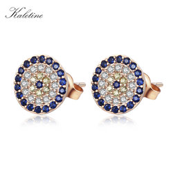 High Quality Genuine 925 Sterling Silver CZ Crystal Lucky Turkey Evil Eye Earrings For Women Yellow Rose Gold Jewelry KLTE009