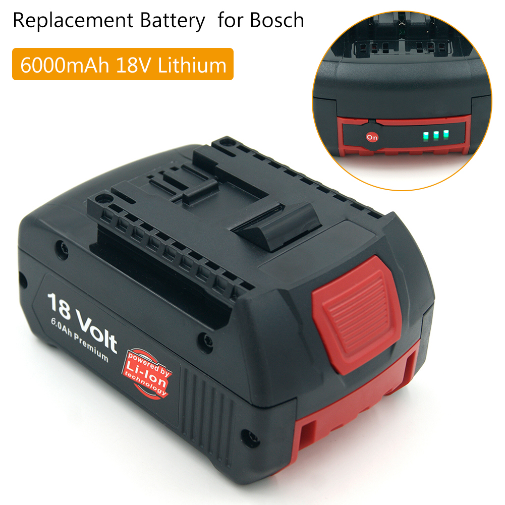 Replacement for <font><b>Bosch</b></font> <font><b>18V</b></font> 6000mAh Lithium Power Tools <font><b>Battery</b></font> Pack BAT609 BAT618 BAT622 JSH180 CRS180 GDR 18 V-LI Cordless Drill image