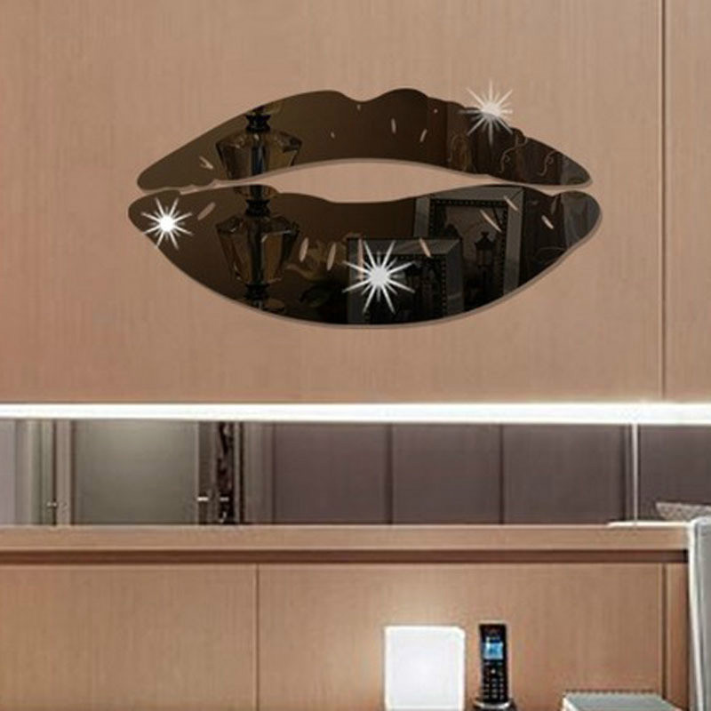 Mirror Wall Stickers Lips Acrylic Stickers Bedroom Background DIY Decorative Mirror Wall Stickers in Wall Stickers from Home Garden
