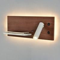 ZEROUNO-Luz LED de pared para dormitorio, lámpara con cargador inalámbrico para teléfono, cabecera, dormitorio, lectura moderna, Loft, habitación, luminaria USB, cama de madera